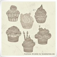 Cupcakes in Grunge High Res PS Brushes by RussDepress