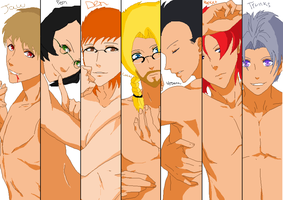 collab: Sexy Naked men by AnotherDBZfan
