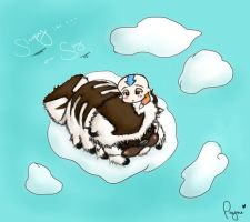 Sleepy In The Sky - Aang and Appa by PaYnE-hAs-No-EnD