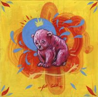 Pink Bear Cub on Hardboard by manfishinc