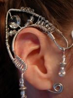 Elven Ear Cuffs, silver and glass by jhammerberg