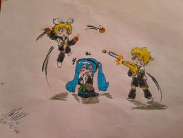 Twins Fight (Markers) by Nami-Tan