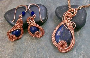 Lapis Lazuli and Copper Swish Set by HeatherJordanJewelry