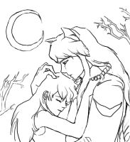 Inuyasha+Kagome Lineart by wlcm2mynightmare