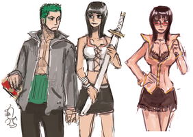 zoro and robin doodles by emlan