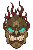 Flaming Wooden Tiki by Mehdals