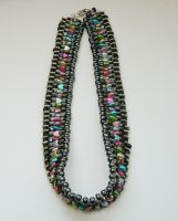 Multicolor safety pin necklace by Jessewellery