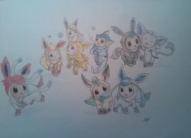 Eevee evolutions-suits by ElizabetaGreenleaf