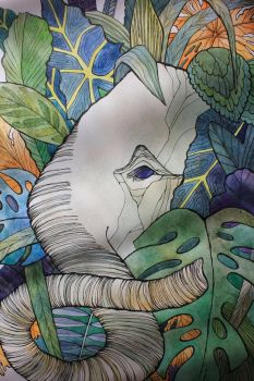 Elephant In The Leaves, fragment by Nafania-Nix