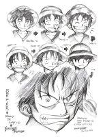 One Piece-Expression of Luffy by darkspeeds