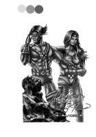 cyclops and jean black n white by artistmyx