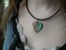 Torch Fired Copper Rainbow Guitar Pic on Leather by artistiquejewelry