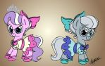 Diamond Tiara and Silver Spoon (Colored) by Rhythm-is-best-pony