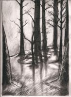 Charcoal Trees by BlackBirdInk