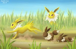 Jolteon and Eevee by sapphireluna