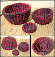 Red and Black Basket Set by flufdrax