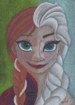 Anna and Elsa - Pastel by Art-Of-Blue