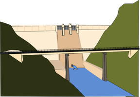 Dam and River vector by OceanRailroader