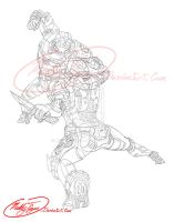 Spartan fight training - line art by MuddyTiger