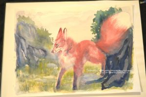 Pink Mountain Fox watercolor by Butterfly-Kitsune