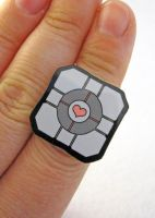 Companion Cube Ring by egyptianruin