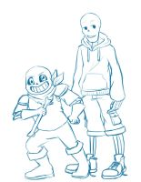 Swap Sans and Pap Sketch by northstar2x