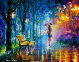 Misty Umbrella by Leonid Afremov by Leonidafremov