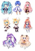 Vocaloid Chibi Set by CaptainStrawberry
