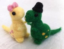 Needle Felted Dino Couple! by Charlottejks