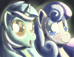 Lyra and BonBon bathed in light. by Popprocks