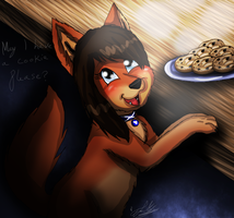 Zoe as a Puppy: May I have a cookie please? by ScottishRedWolf