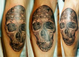 thread on the skull .... very ancient occupation by vangoghtattoo