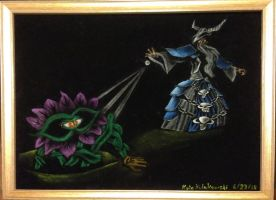 HotS: Black velvet painting of Shambler vs. Gothik by Clockworkalien