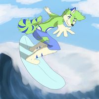 Nexi goes surfing by afoxen