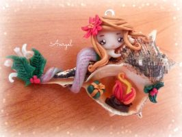 Christmas Mermaid (Necklace) - Handmade FIMO by Anryel