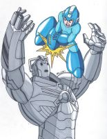 Mega Man vs Cyberman by RobertMacQuarrie1