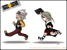 Soul want to avoid Maka's chop by natounobaka