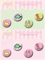 Dino Buttons by Fluffntuff