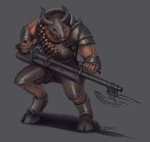 Commission - Minotaur Gunner by Shimmering-Sword