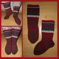 Christmas fair-isle Lilli socks by KnitLizzy
