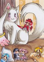 Kyubey and the Puppets by LuckyAngelausMexx