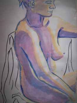 Watercolor Nude Sitting by mmmlewon