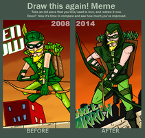 meme before and after 2008-2014 Green Arrow by theEyZmaster