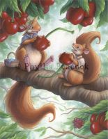Squirrels in Summer by Red-Clover