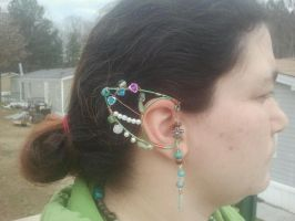 Floral and green Elventipped earcuff by WyckedDreamsDesigns