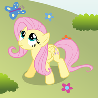 Fluttershy with a butterfly by mattbas