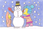 Lisa and Maggie's Snowman by MarioSimpson1