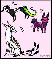 Funky Creatures :ALL TAKEN: by sugarcakes-adopts