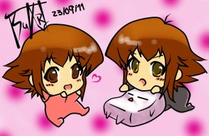 Judai and Haou chibi baby by Tsu-Art