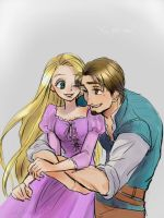 Tangled Rapunzel and Eugene by amarim